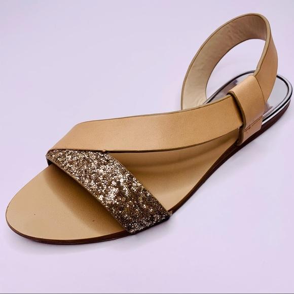 Zara Glitter Tan Leather Slide Sandal Flat 37 6.5